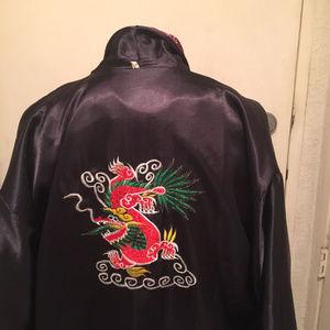Intimates & Sleepwear - Reversible Kimono Robe Embroidered Dragon Purple